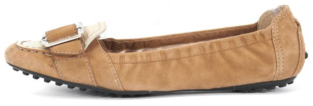 TOD'S Brown Suede Silver Buckle Square Toe Flats