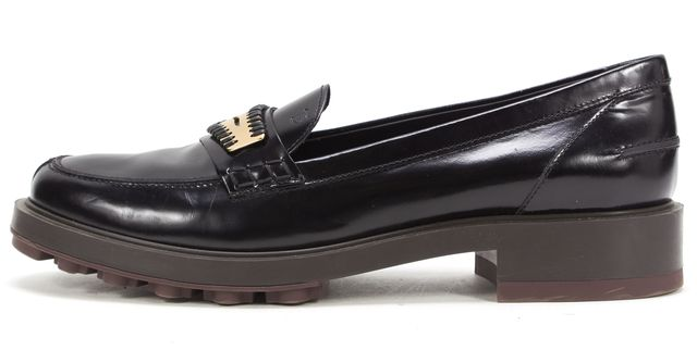 TOD'S Black Patent Leather Hardware Detail Platform Loafers