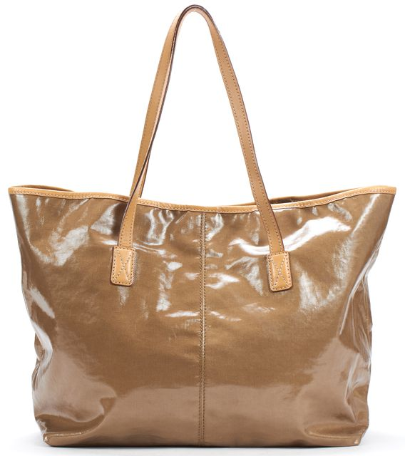 TOD'S Tan Coated Canvas Beige Leather Trim Tote Bag