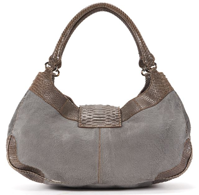 TOD'S Gray Calf-Hair Snakeskin Leather Detail Hobo Shoulder Bag