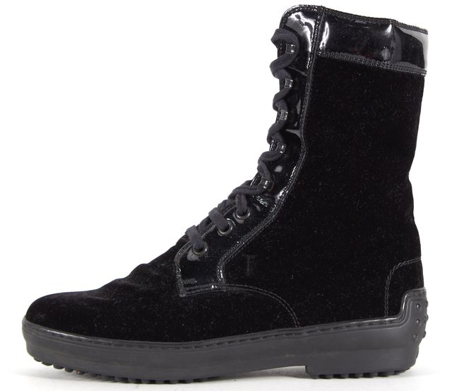 TOD'S Black Suede Patent Leather Trim Lace Up Ankle Boot Boots