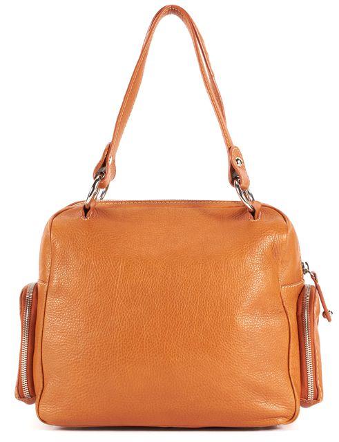 TOD'S Orange Pebbled Leather Silver Hardware Shoulder Bag