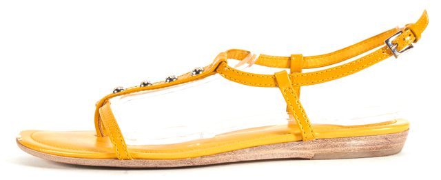 TOD'S Yellow Leather Embellished T-Strap Flat Sandals