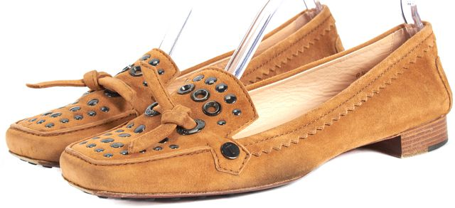 TOD'S Tan Brown Suede Leather Stud Grommet Embellished Square Toe Loafers