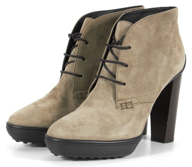 TOD'S Gray Suede Lace Up Ankle Boot Heels