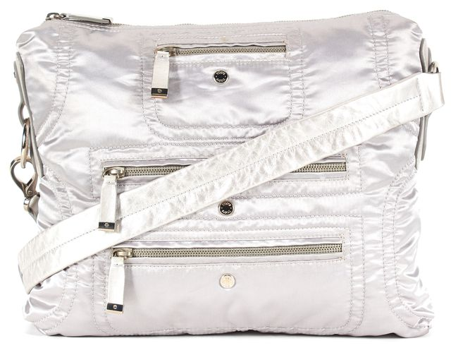 TOD'S Silver Nylon Leather Trim Shoulder Bag