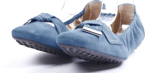 TOD'S Blue Suede Square-Toe Ballet Flats