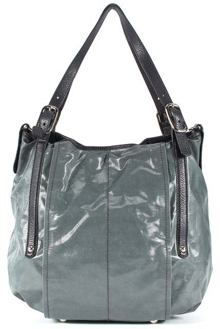 TOD'S Gray Green Coated Canvas Tote