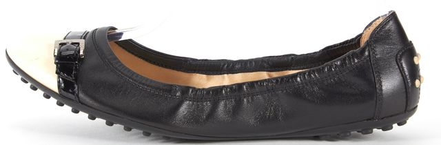 TOD'S Black Ivory Leather Buckled Cap Toe Ballet Flats