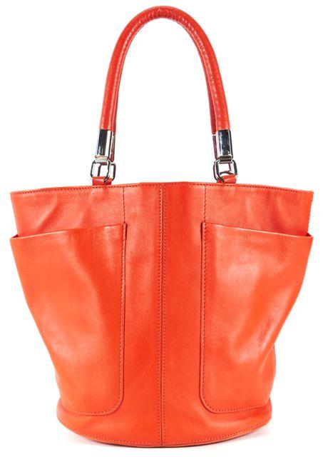 TOD'S Orange Leather Round Bucket Tote Bag