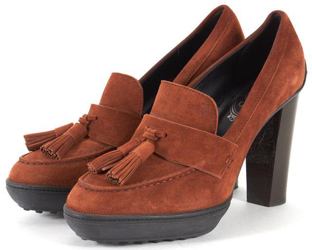 TOD'S Brown Tassel Embellished Suede Pump Heels