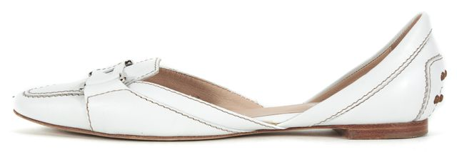 TOD'S White Leather Pointed Toe D'Orsay Flats