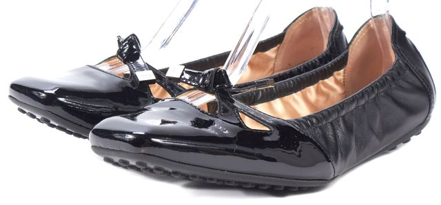 TOD'S Black Cutout Patent Leather Square Toe Ballet Flats