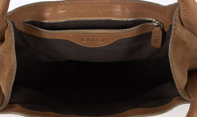 TOD'S Tan Brown Suede Top Handle Shoulder Bag