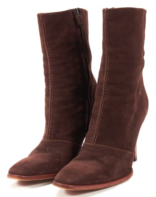 TOD'S Brown Suede Pointed Toe Mid-Calf Heeled Boots