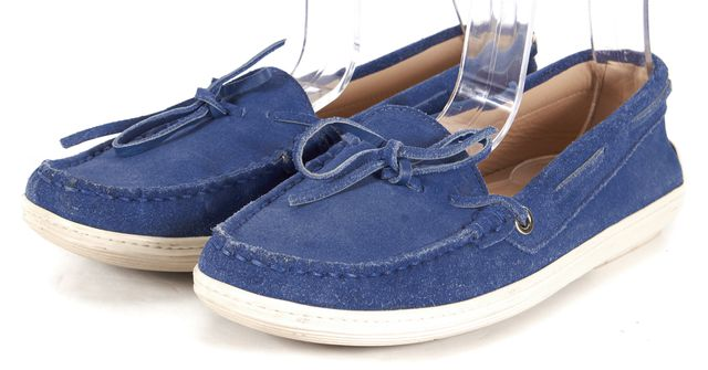 TOD'S Medium Blue Suede Boat Shoe Loafer Flats Size IT 37.5 US 7.5
