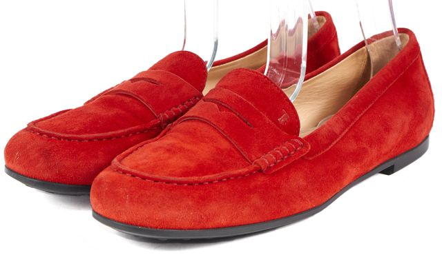 TOD'S Red Suede Leather Loafers Flats