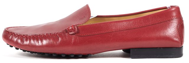 TOD'S Red Leather Loafers Flats Shoes