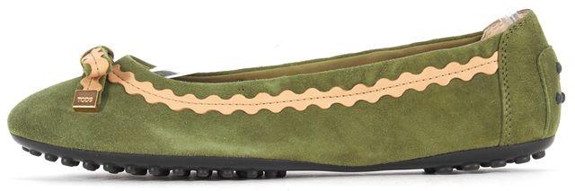 TOD'S Green Beige Suede Ribbon Detail Ballerina Flats Size 4.5 EU 34.5
