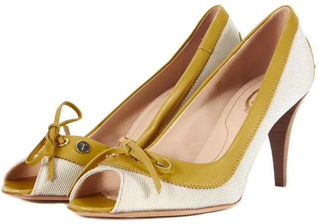TOD'S Beige Canvas Yellow Leather Trim Peep Toe Pumps