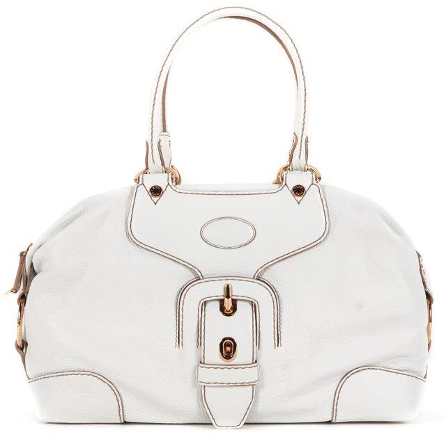 TOD'S White Leather Gold Hardware Shoulder Bag