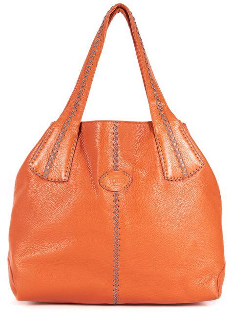 TOD'S Orange Gray Contrast Stitch Pebbled Leather Shoulder Bag Tote