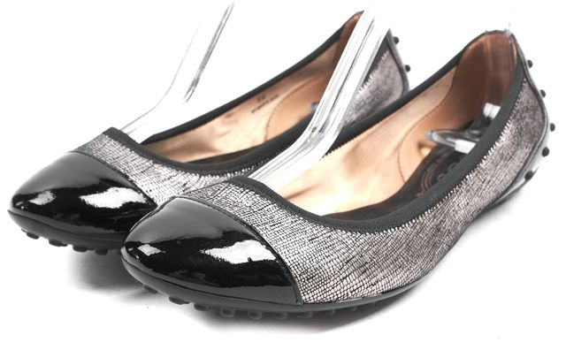 TOD'S Silver Black Embossed Leather Cap Toe Ballet Flats