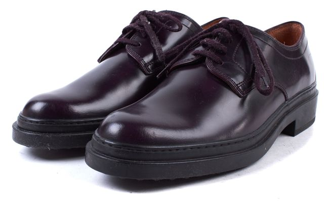 TOD'S Eggplant Purple Leather Oxfords