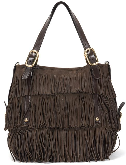 TOD'S Brown Fringe Suede G-Bag Frange Media Shoulder Bag