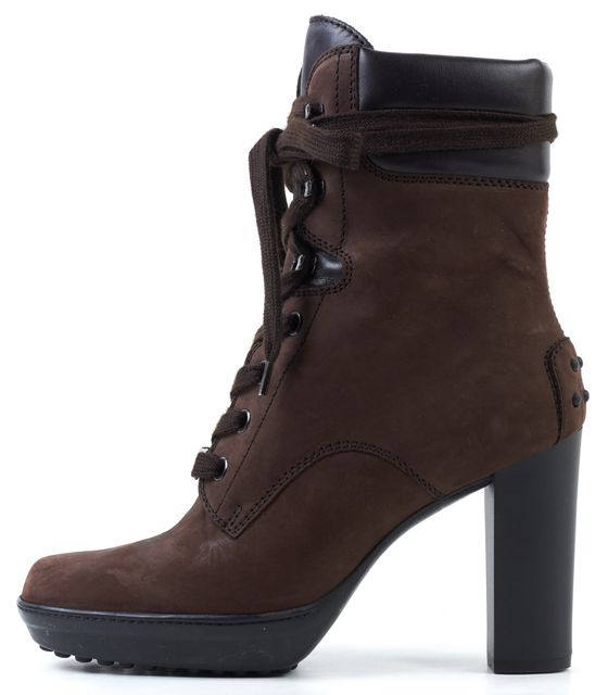 TOD'S Brown Black Suede Lace Ups Ankle Boots Size US 5.5 IT 35.5