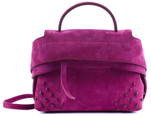 TOD'S Purple Suede Micro Wave Convertible Top Handle Crossbody Bag