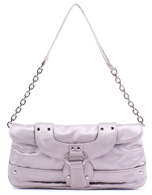 TOD'S Satin Gray Swarovski Embellished Silver Toned Hardware Clutch Bag