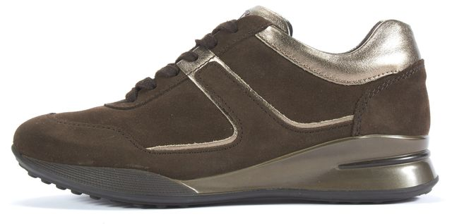 TOD'S Brown Metallic Leather Trim Suede Lace Up Sneakers Size It 37.5 Us 7