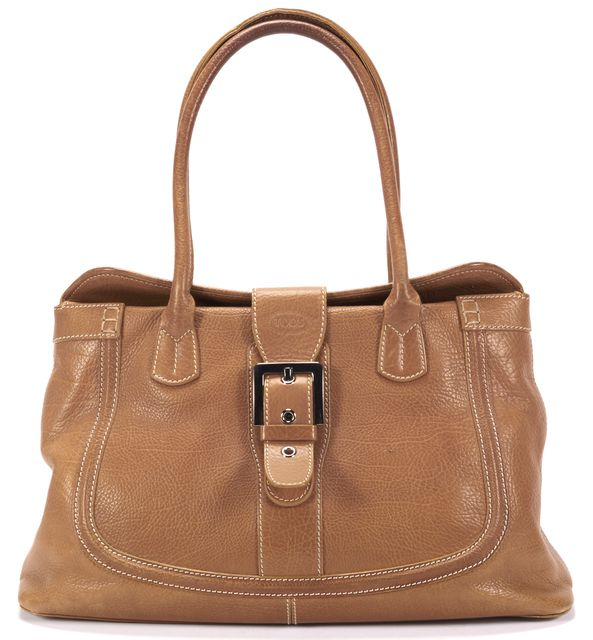 TOD'S Tan Grained Silver Hardware Leather Shoulder Bag