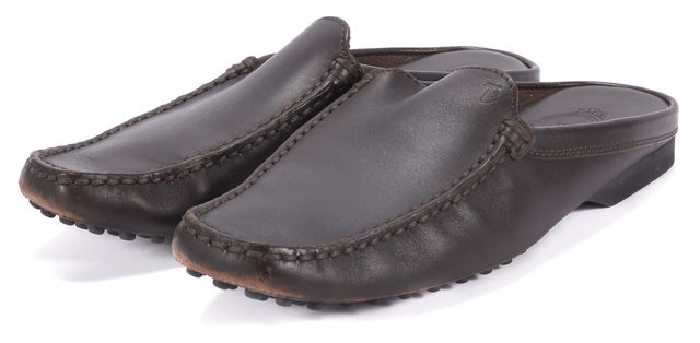 TOD'S Brown Leather Slip-on Loafers