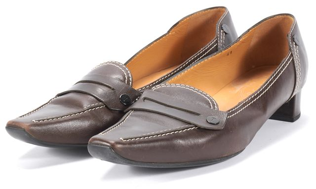 TOD'S Brown Low-Heel Bicycle Toe Loafers