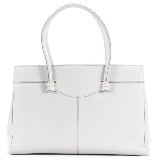 TOD'S Light Gray Leather Shoulder Bag Tote