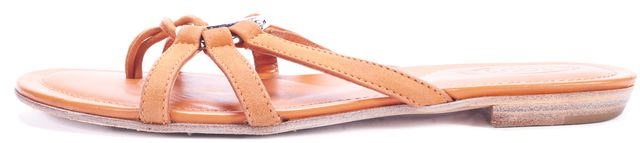 TOD'S Orange Strappy Leather Flip-Flop Sandals