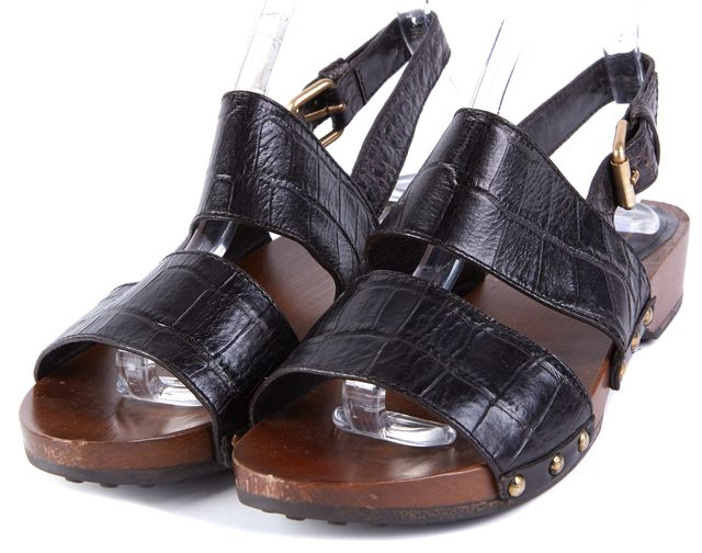 TOD'S Black Embossed Leather Double Strap Slingback Sandals Size US 6.5 EUR 37