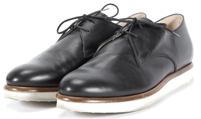 TOD'S Black Leather Lace Ups Platform Oxfords Size US 10 IT 42