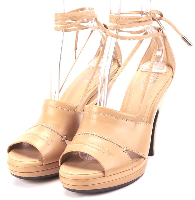 TOD'S Beige Leather Strappy Open Toe Pump Heels
