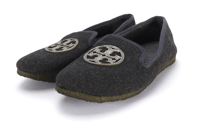 TORY BURCH Gray Wool Leather Logo Faux Fur Lined Loafer Flats