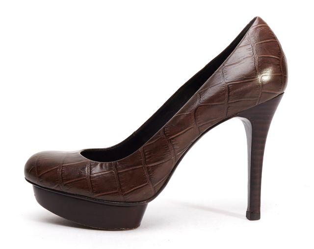 TORY BURCH Brown Croc Embossed Leather Platform Heels