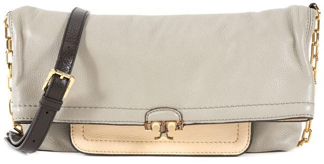 TORY BURCH Gray White Brown Pebbled Leather Fold Over Crossbody Bag
