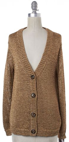 TORY BURCH Gold Long Sleeve Open Knit Button Down V Neck Cardigan Size S