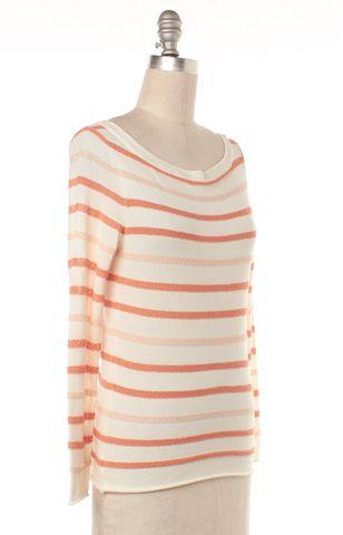 TORY BURCH Ivory Orange Striped Long Sleeve Knit Top