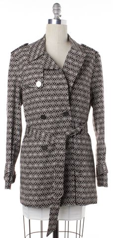 TORY BURCH Brown White Geometric Trench Coat