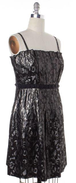 TORY BURCH Metallic Dark Silver Black Abstract Sheath Dress