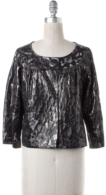 TORY BURCH Gray Black Metallic Abstract Cropped Basic Jacket