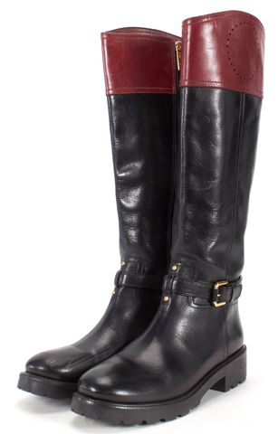 TORY BURCH Black Burgundy Leather Perforated Logo Knee-High Boots Size 9.5